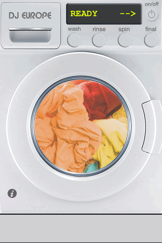 in the washing machine with clothes